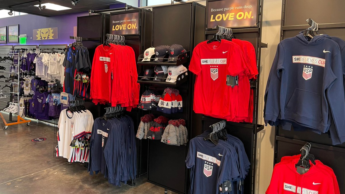 Don't forget to stop by the Den to get your #SheBelievesCup swag! 🛍️  ⌚Den opens at noon.