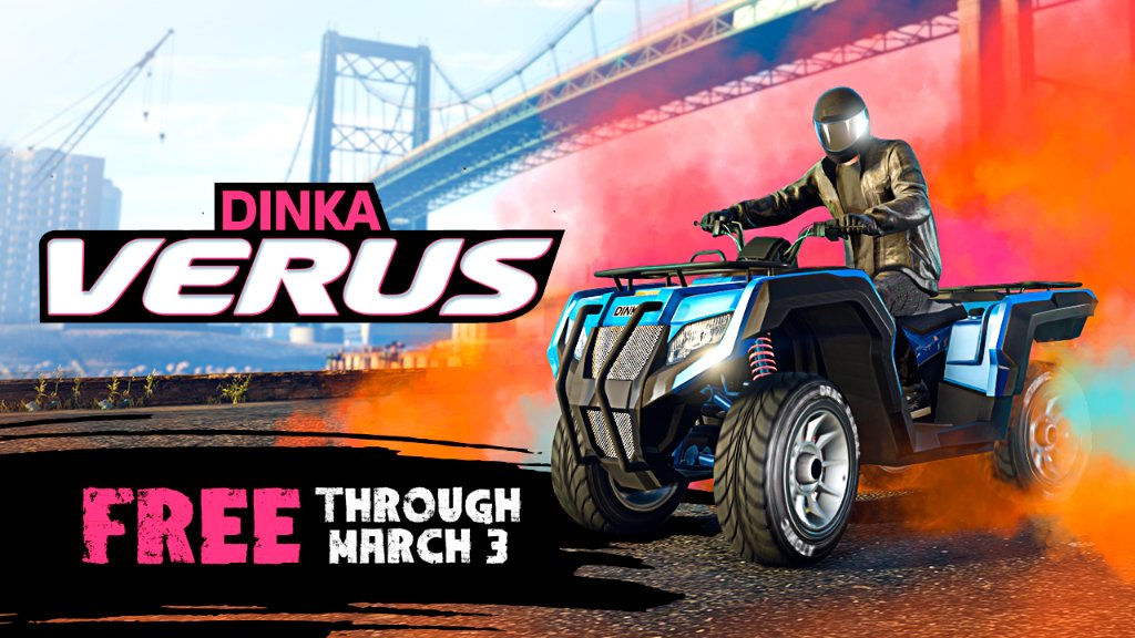 Pick up the new Dinka Verus for free in GTA Online through March 3.  Plus, get Double Rewards in Open Wheel Races, Contact Missions, and more this week: