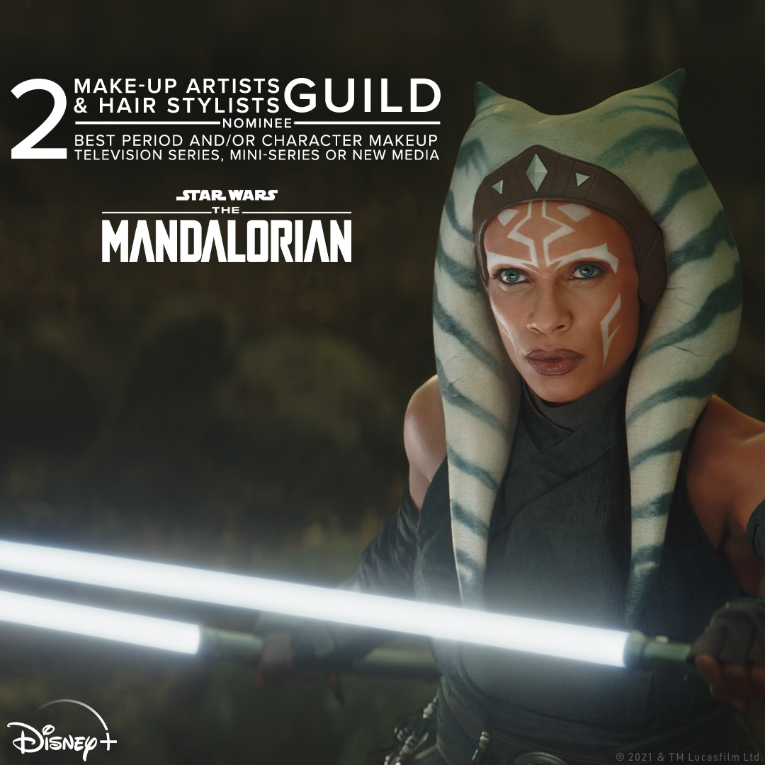 Congratulations to the #TheMandalorian make-up team on their two nominations at the #MUAHSGAwards including Best Period and/or Character Makeup for a Television Series, Mini-Series or New Media and Best Special Make-Up Effects for a Television Series, Mini-Series or New Media.