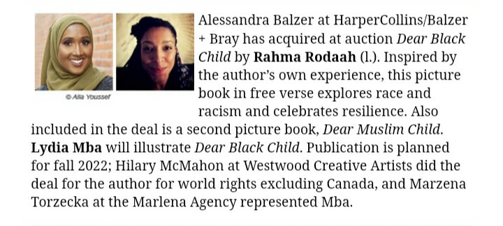 Congratulations to @RahmaRodaah for her deal announcement!! This book will be amazing!