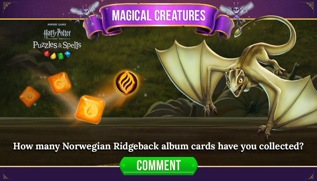 This Epic Magical Creature can be earned by competing in Fire Diamond League tiers with your Club! Comment below with which Norwegian Ridgeback cards you've collected.  Play in a League to tier up NOW ➡️   #HarryPotterPuzzlesAndSpells #NorwegianRidgeback