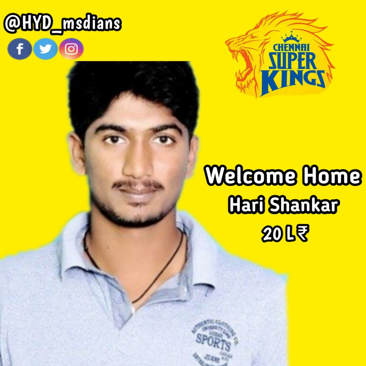 Here's Welcoming Our Newest Super King with all the #yellove 💛🥳😍  Welcome to #AnbuDen Hari Shankar 🏟️💛  #WhistlePodu #yellove #SuperAuction #SuperFam #IPLAuction2021