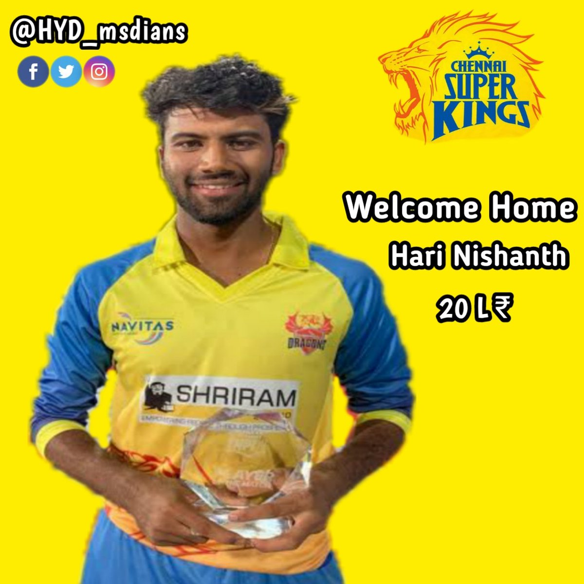 Here's Welcoming Our Newest Super King with all the #yellove 💛🥳😍  Welcome to #AnbuDen Hari Nishanth🏟️💛  #WhistlePodu #yellove #SuperAuction #SuperFam #IPLAuction2021