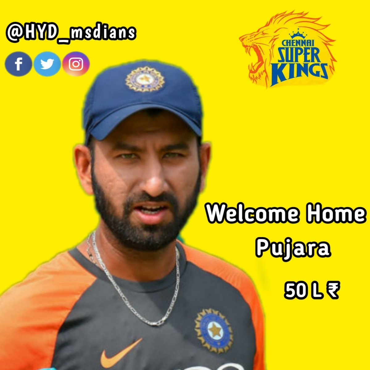 Here's Welcoming Our Newest Super King with all the #yellove 💛🥳😍  Welcome to #AnbuDen Cheteshwar Pujara 🏟️💛  #WhistlePodu #yellove #SuperAuction #SuperFam #IPLAuction2021