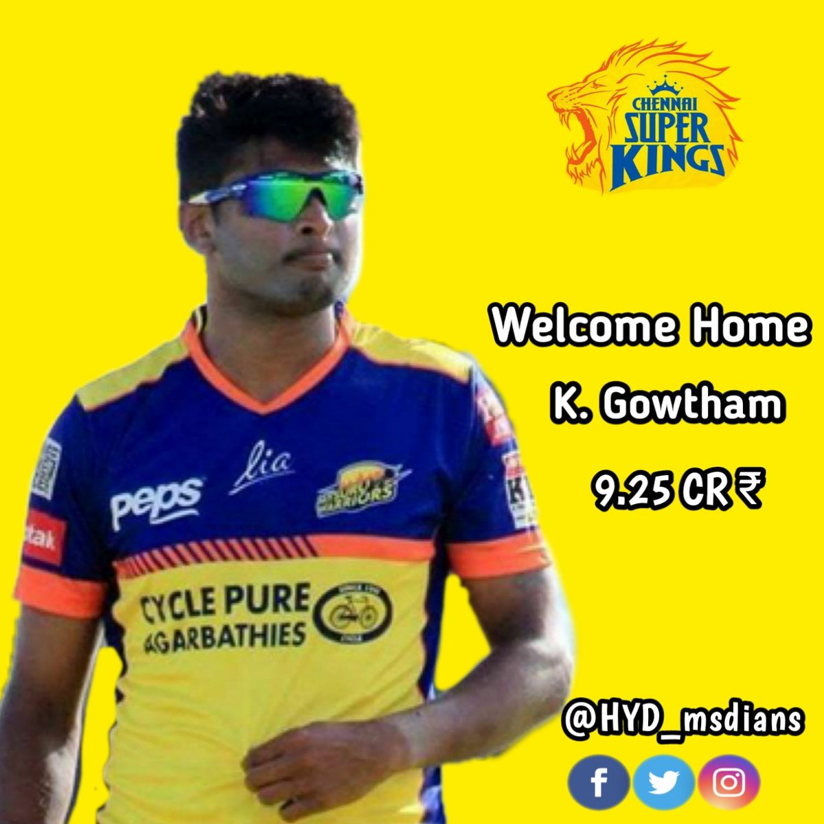 Here's Welcoming Our Newest Super King with all the #yellove 💛🥳😍  Welcome to #AnbuDen Krishnappa Gowtham 🏟️💛  #WhistlePodu #yellove #SuperAuction #SuperFam #IPLAuction2021