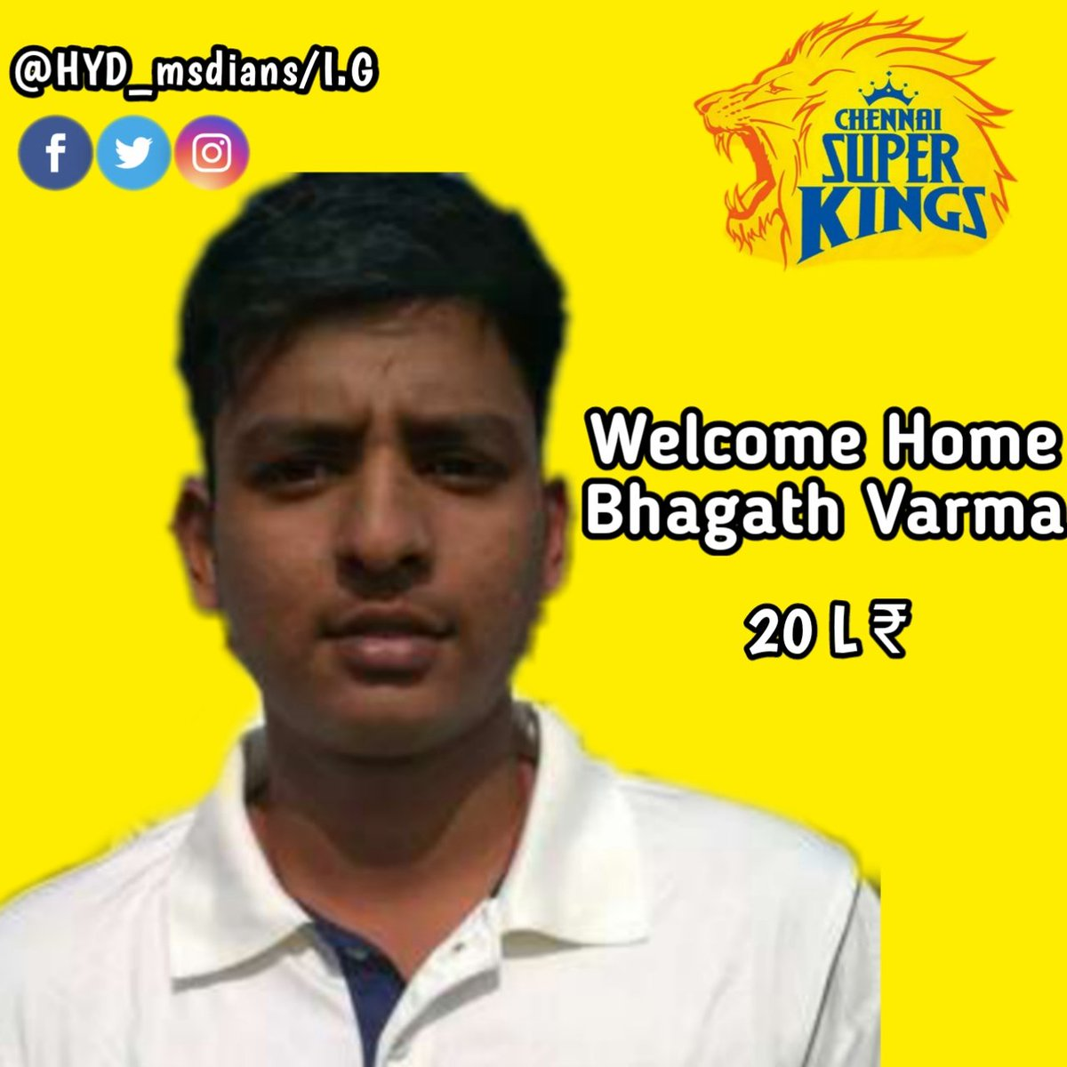 Here's Welcoming Our Newest Super King with all the #yellove 💛🥳😍  Welcome to #AnbuDen Bhagath Varma🏟️💛  #WhistlePodu #yellove #SuperAuction #SuperFam #IPLAuction2021
