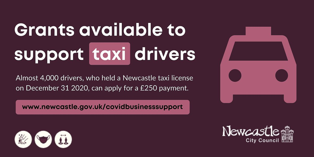 Almost 4,000 taxi drivers in #Newcastle are eligible for a new support grant. Applications open on Monday (Feb 22) at 10am. Find out more: orlo.uk/dtmHF So far weve administered almost £90m in #Covid #businesssupport grants to help keep our city's economy going.