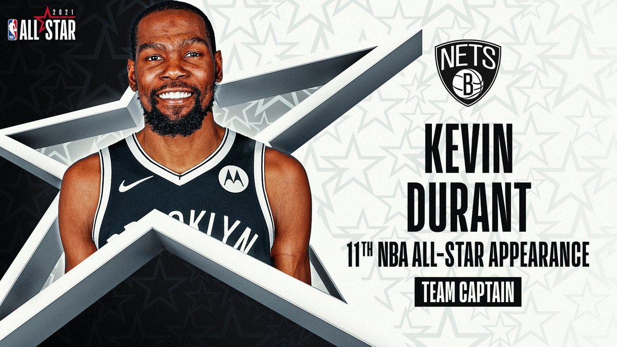 Making his 11th #NBAAllStar appearance... Kevin Durant of the @BrooklynNets.   Drafted as the 2nd pick in 2007 out of Texas, @KDTrey5 is averaging 29.0 PPG, 7.3 RPG, 5.3 APG for the Nets this season.