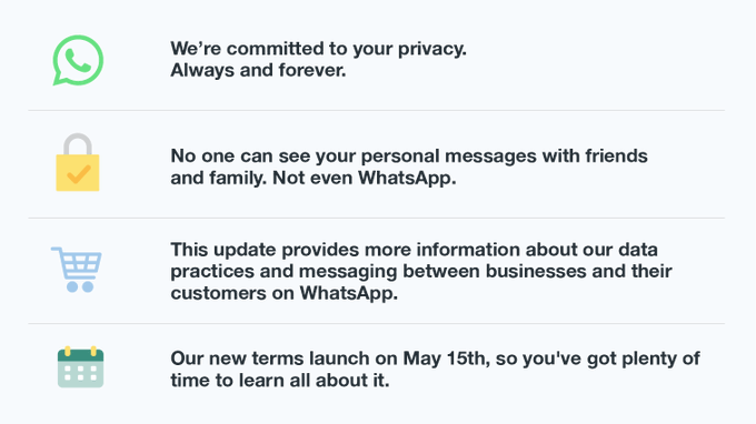 We're committed to your privacy. Always and forever.No one can see your personal messages with friends and family. Not even WhatsApp.This update provides more information about our data practices and messaging between businesses and their customers on WhatsApp.Our new terms launch on May 15th, so you've got plenty of time to learn all about it.