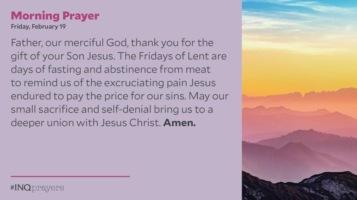 Today's Morning Prayer. #INQPrayers