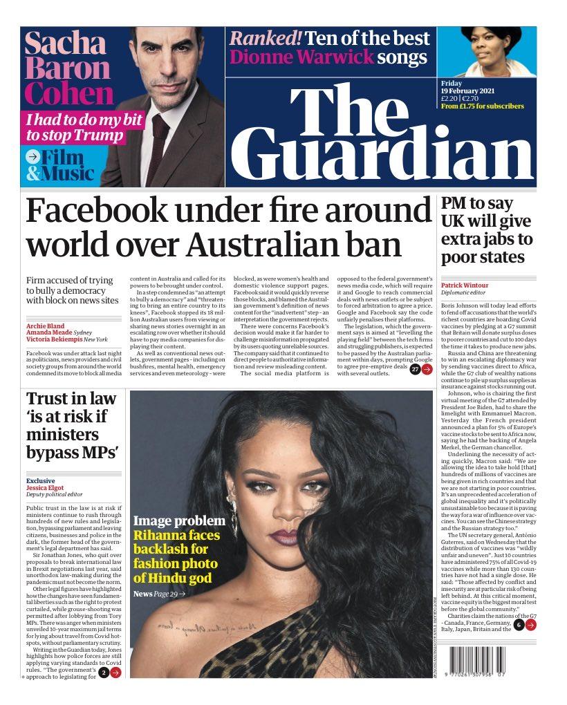 GUARDIAN: Facebook under fire around world over Australian ban #TomorrowsPapersToday