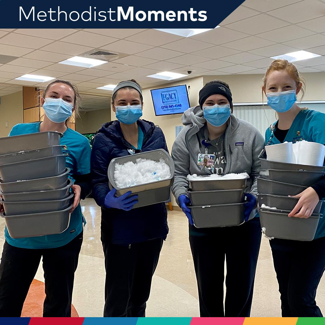 Leave it up to our child life specialists to bring some winter magic indoors  to our patients who aren't able to experience the snow outside.   We're grateful to our #healthcareheroes who are going above and beyond to care for our community! #TexasWinterStorm2021