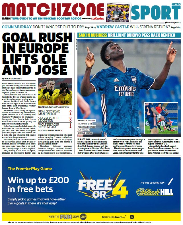 METRO SPORT: Goal rush in Europe lifts Ole and Jose #TomorrowsPapersToday