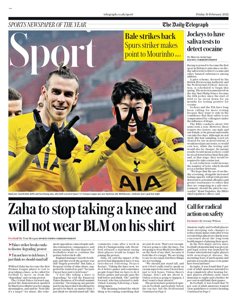 TELEGRAPH SPORT: @wilfriedzaha to stop taking a knee and will not wear BLM on his shirt #TomorrowsPapersToday