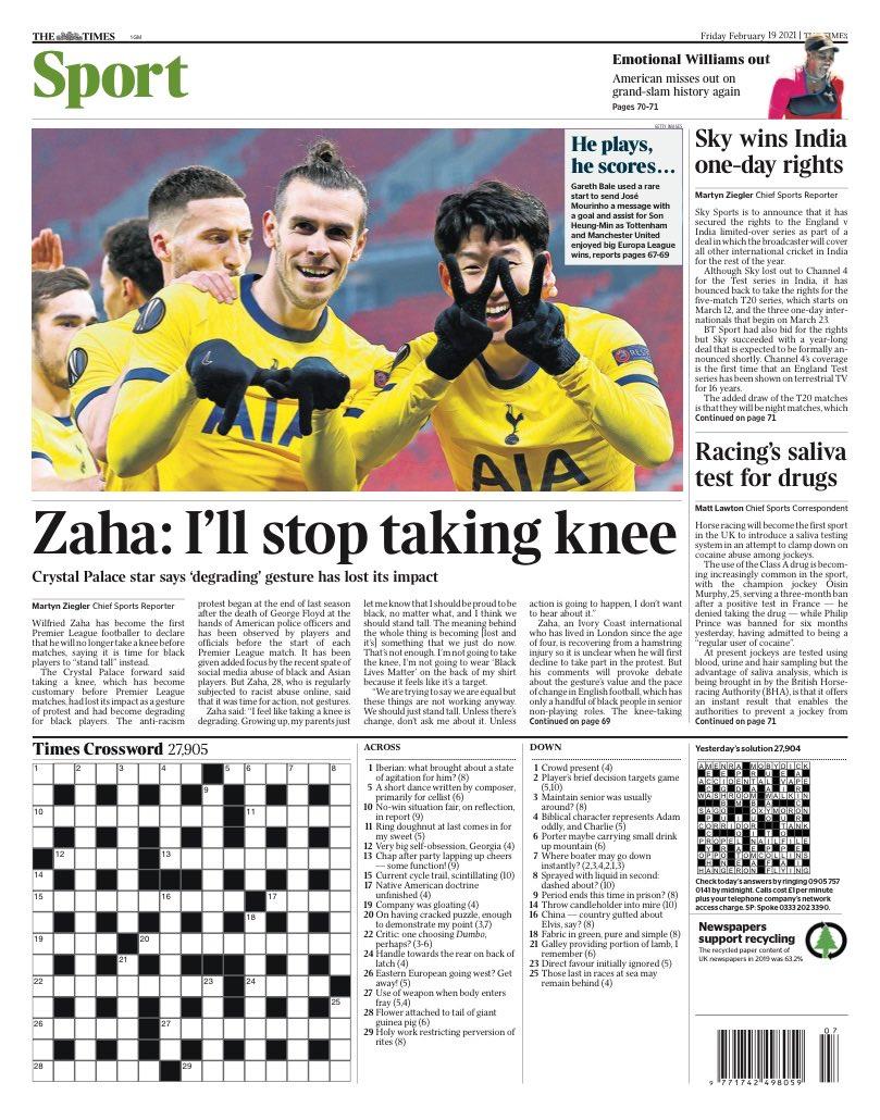 TIMES SPORT: @wilfriedzaha : I'll stop taking knee #TomorrowsPapersToday