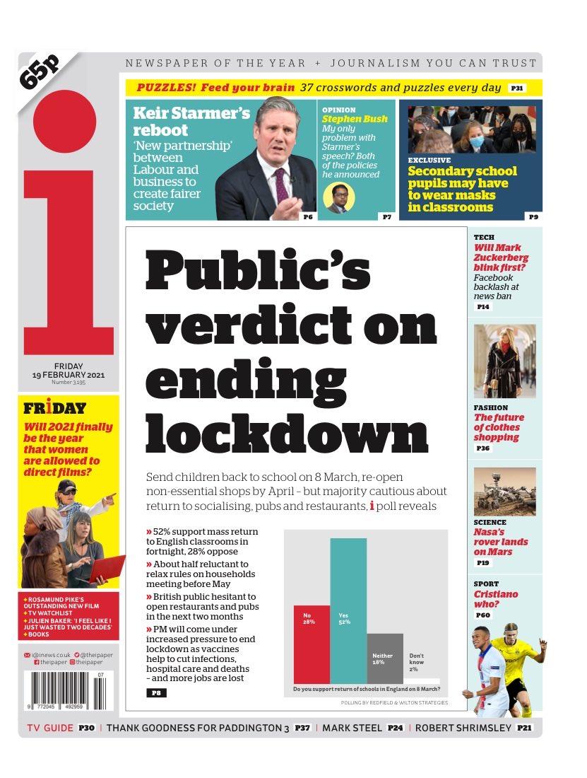I: Public's verdict on ending lockdown #TomorrowsPapersToday
