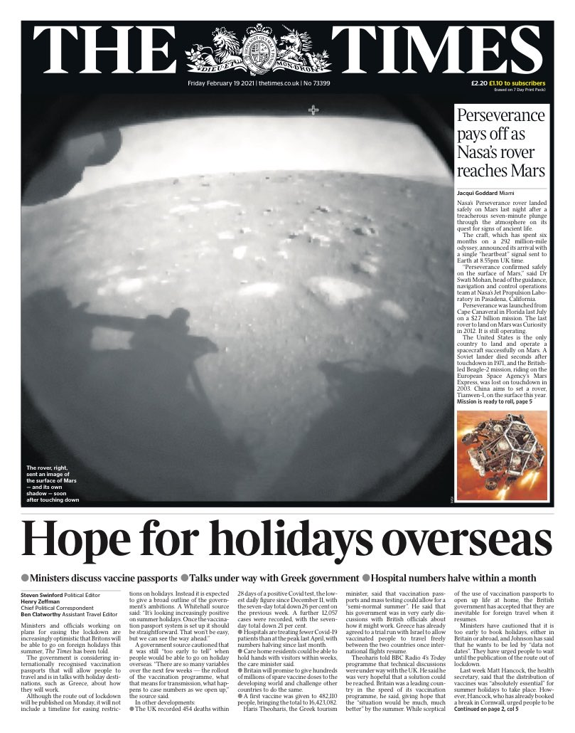 TIMES: Hope for holidays overseas #TomorrowsPapersToday