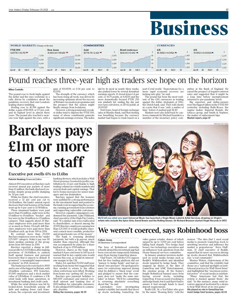 TIMES BUSINESS: @Barclays pays £1m or more to 450 staff #TomorrowsPapersToday