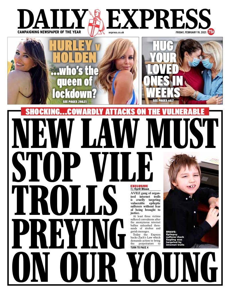 EXPRESS: New law must stop vile trolls preying on our young #TomorrowsPapersToday