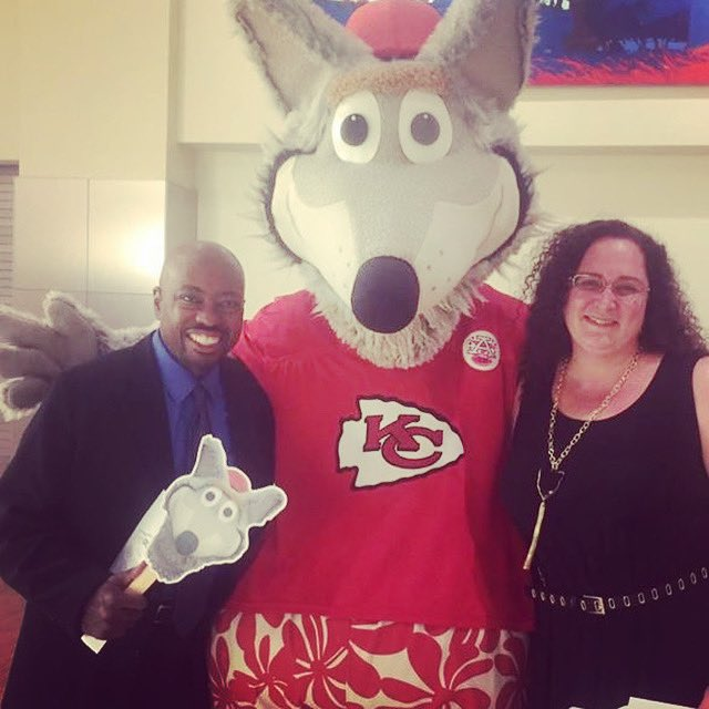 That time @MarthaRKelso and I met @kcwolf #tbt #nflmascots #kansascity #kcchiefs
