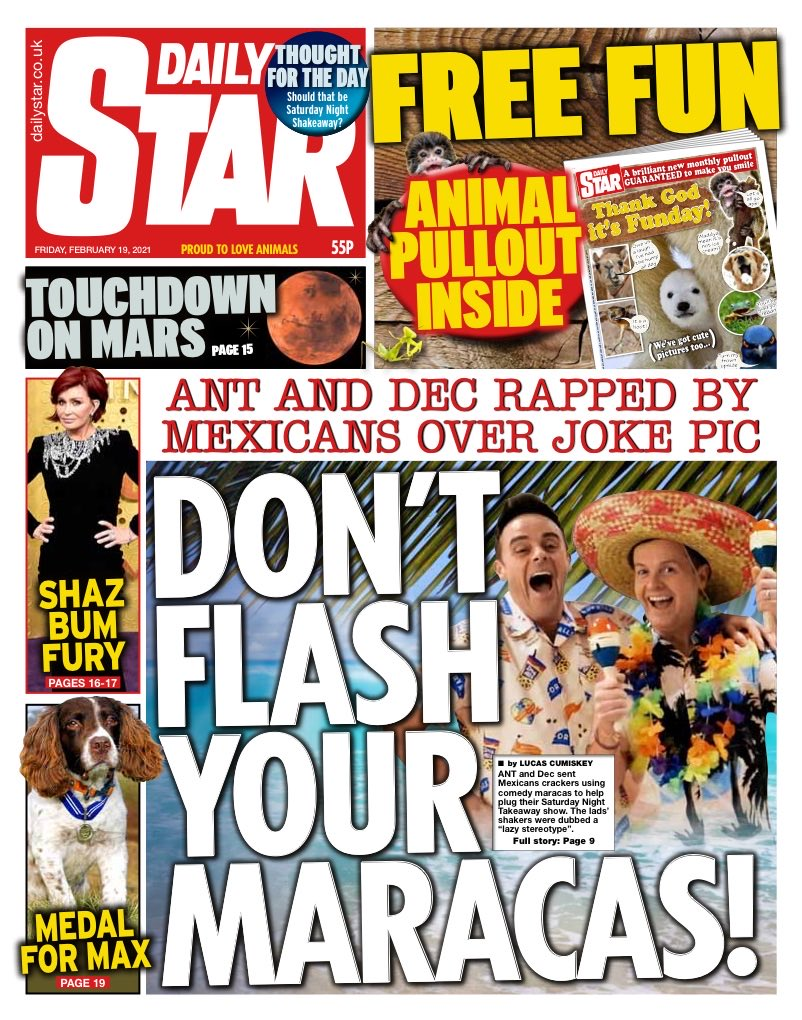 STAR: Don't flash your maracas #TomorrowsPapersToday