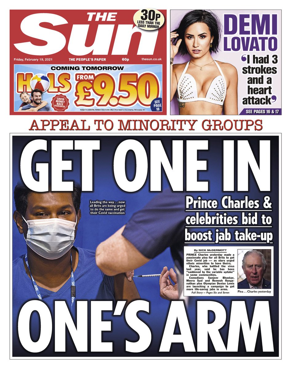 THE SUN: Get one in one's arm #TomorrowsPapersToday
