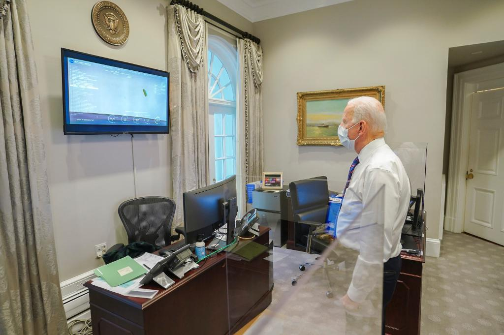 President Biden watches Perseverance touch down on Mars