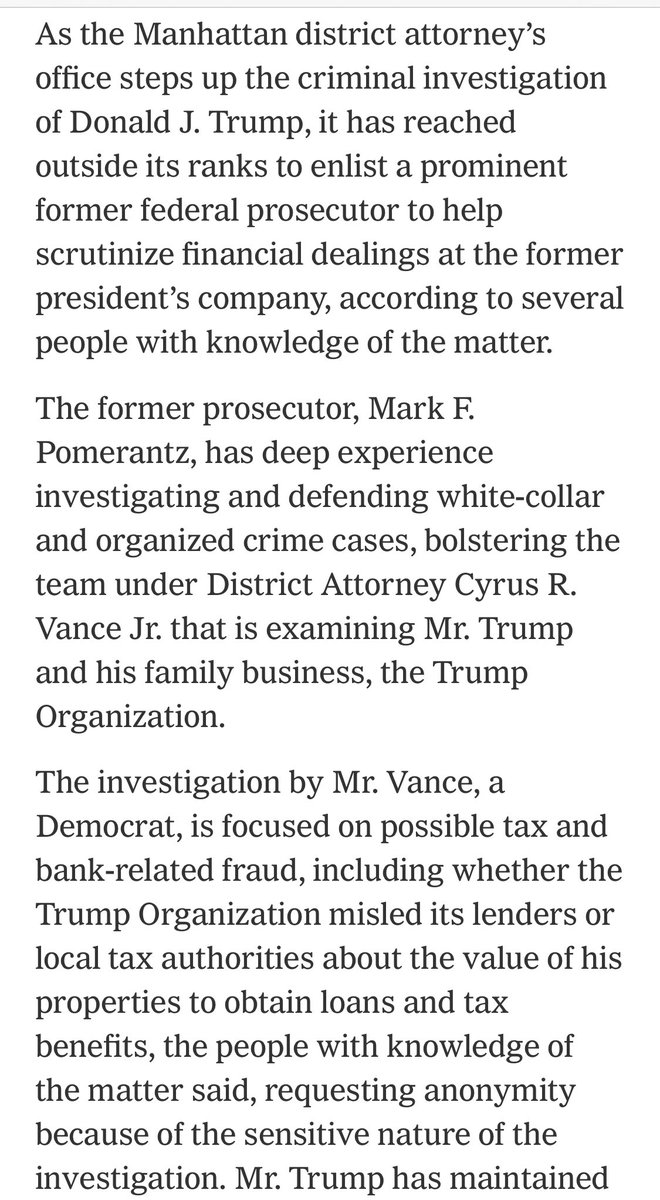 """The @ManhattanDA has hired a top prosecutor with deep expertise in investigating organized crime & racketeering to """"follow the money"""" at @Trump:   Tax fraud is likely to be the tip of the iceberg."""
