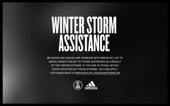 WINTER STORM ASSISTANCE BeyGOOD and adidas are working with Bread of Life to bring urgent relief to those suffering as a result of the winter storms. If you are in TEXAS, or any state affected by these storms, you can apply for assistance at Breadoflife.org.