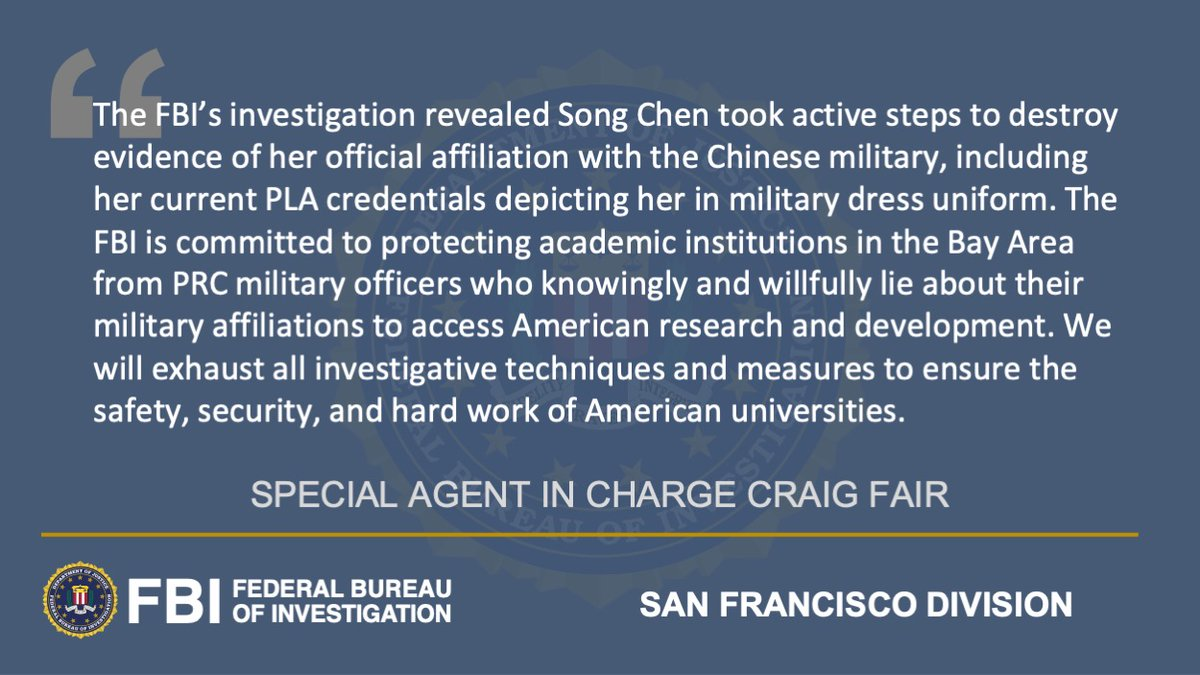 #New Federal Charges Against Stanford University Researcher ow.ly/qBno50DEfpb A federal grand jury issued a superseding indictment charging Song Chen, an alleged Chinese military officer, with visa fraud, obstruction of justice, destruction of documents, & false statements.