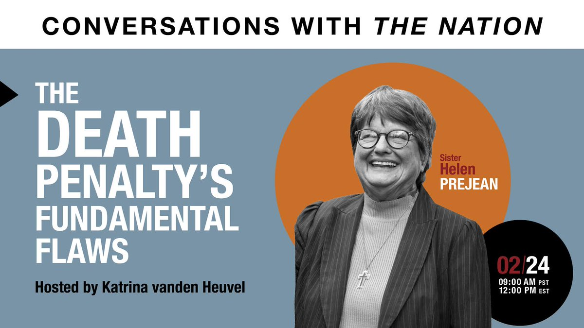 Were in a crucial moment in the fight to abolish the federal death penalty. Join us for our next Nation Conversation with @helenprejean about the state of the movement. bit.ly/3buA6PV