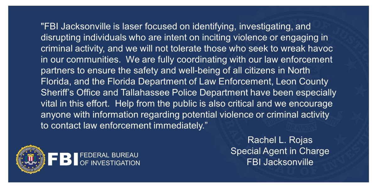 NEW: Daniel A. Baker of Tallahassee has been indicted by a federal grand jury for inciting violence at the #Florida Capitol. Baker was arrested by #FBI #Jacksonville on January 15. Thanks to our partners @fdlepio @LeonSheriff and @TallyPD. Read more here: justice.gov/usao-ndfl/pr/d…