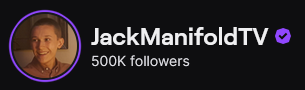Replying to @JackManifoldTwo: I never thought I'd be here! Thank you so much for half a million!! ❤️