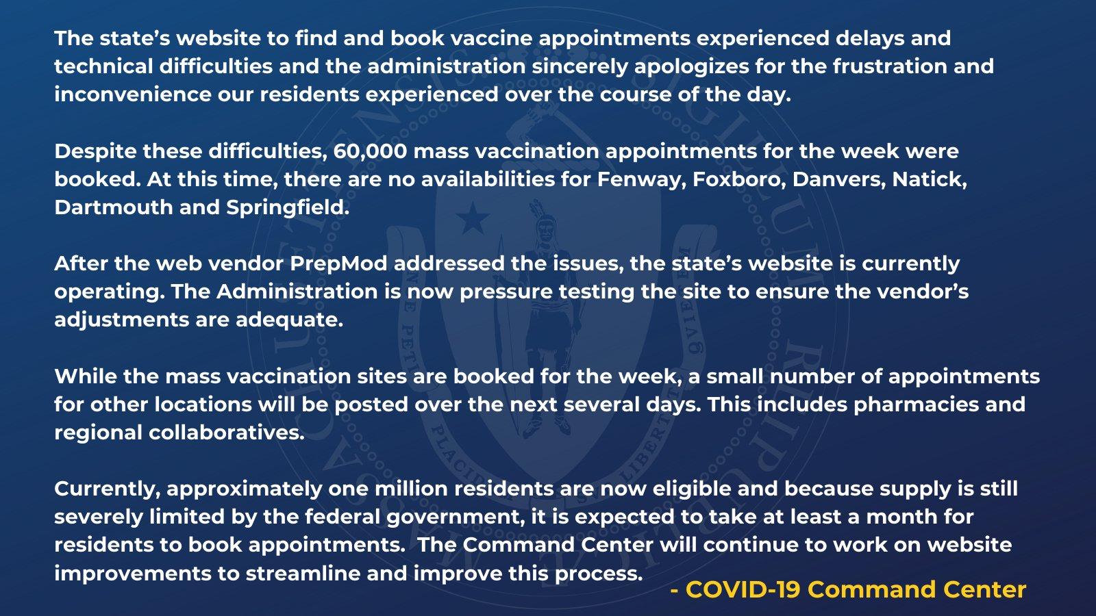Mass.gov ->  Update on vaccine scheduling website