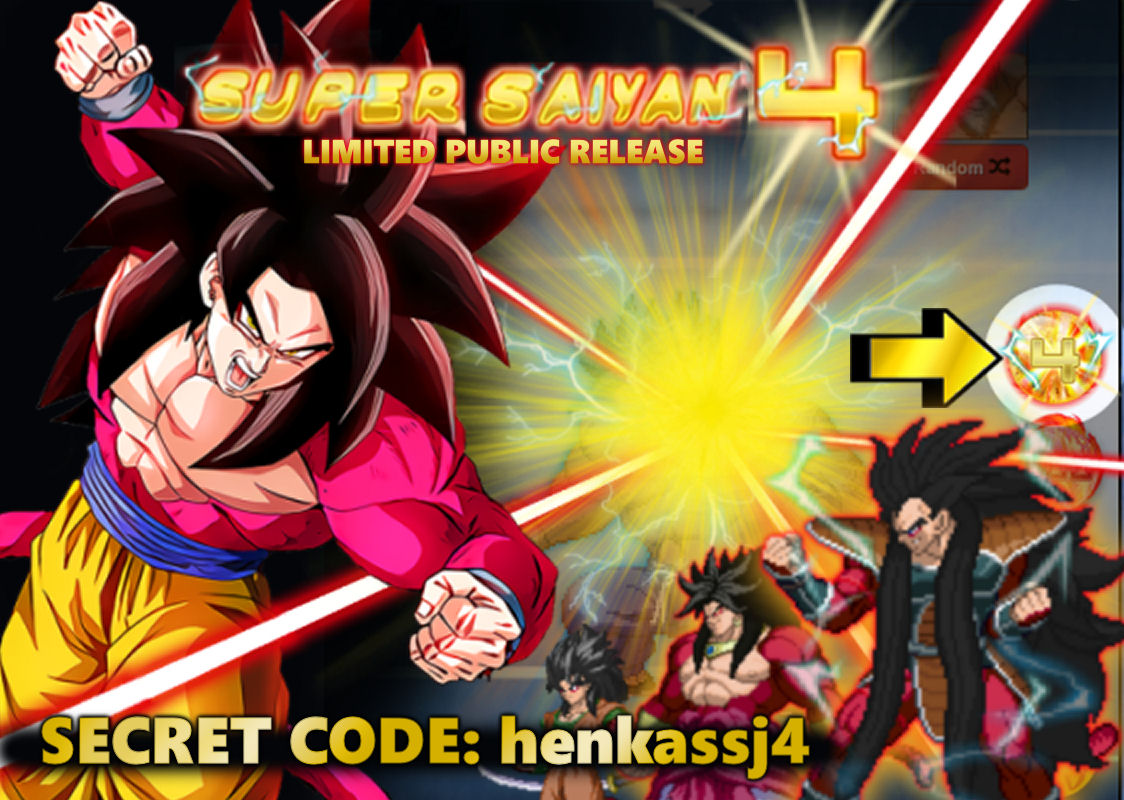 LIMITED PUBLIC SSJ4 TRANSFORMATION - Early Access Release! In response to our recent poll we have added a new secret code button below the generator. Enter the code: henkassj4 to unlock the SSJ4 transformation! The secret early access code and transformation will expire on 2/20.