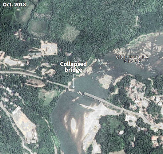 When rivers are dredged, the evidence can be hidden beneath the water until disaster occurs. Local politicians blame the extraction of sand for undermining the foundations of the Mullarapatna Bridge, causing it to collapse. (6/7) 🛰️📸 Google, © 2018 CNES / Airbus https://t.co/JOqsbGlWMa