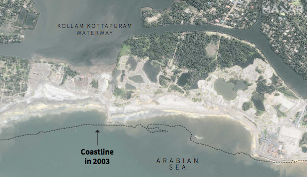Sand mining took off only decades ago. The damage from sand extraction can be seen clearly in satellite images, with coastlines eroded and ecosystems destroyed. (5/7) Alappad, India 🛰️📸 ©2019 Maxar Technologies https://t.co/9pj1KcgCBF
