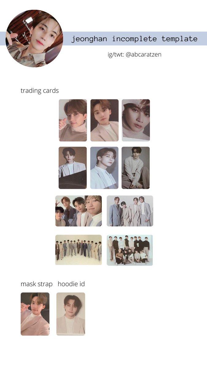 seventeen jeonghan, wonwoo, vernon, dino incomplete trading card template 😬💖   @pledis_17 #SVT_IN_COMPLETE