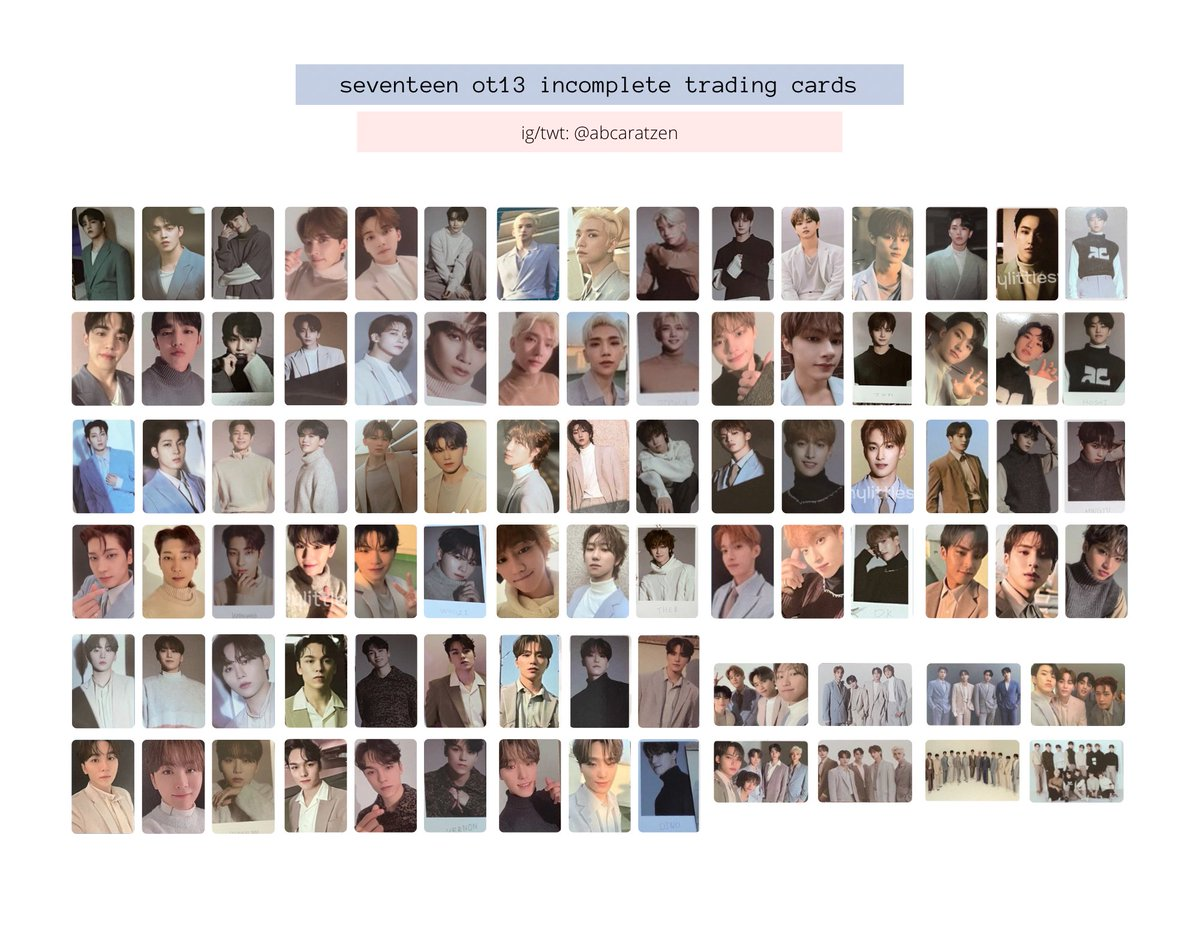 seventeen ot13 incomplete trading cards 💖  link to individual member templates:    セブチトレカ  세븐틴 트레카  @pledis_17 #SVT_IN_COMPLETE #세븐틴 #SEVENTEEN  s.coups jeonghan joshua jun hoshi wonwoo woozi the8 dk mingyu seungkwan vernon dino