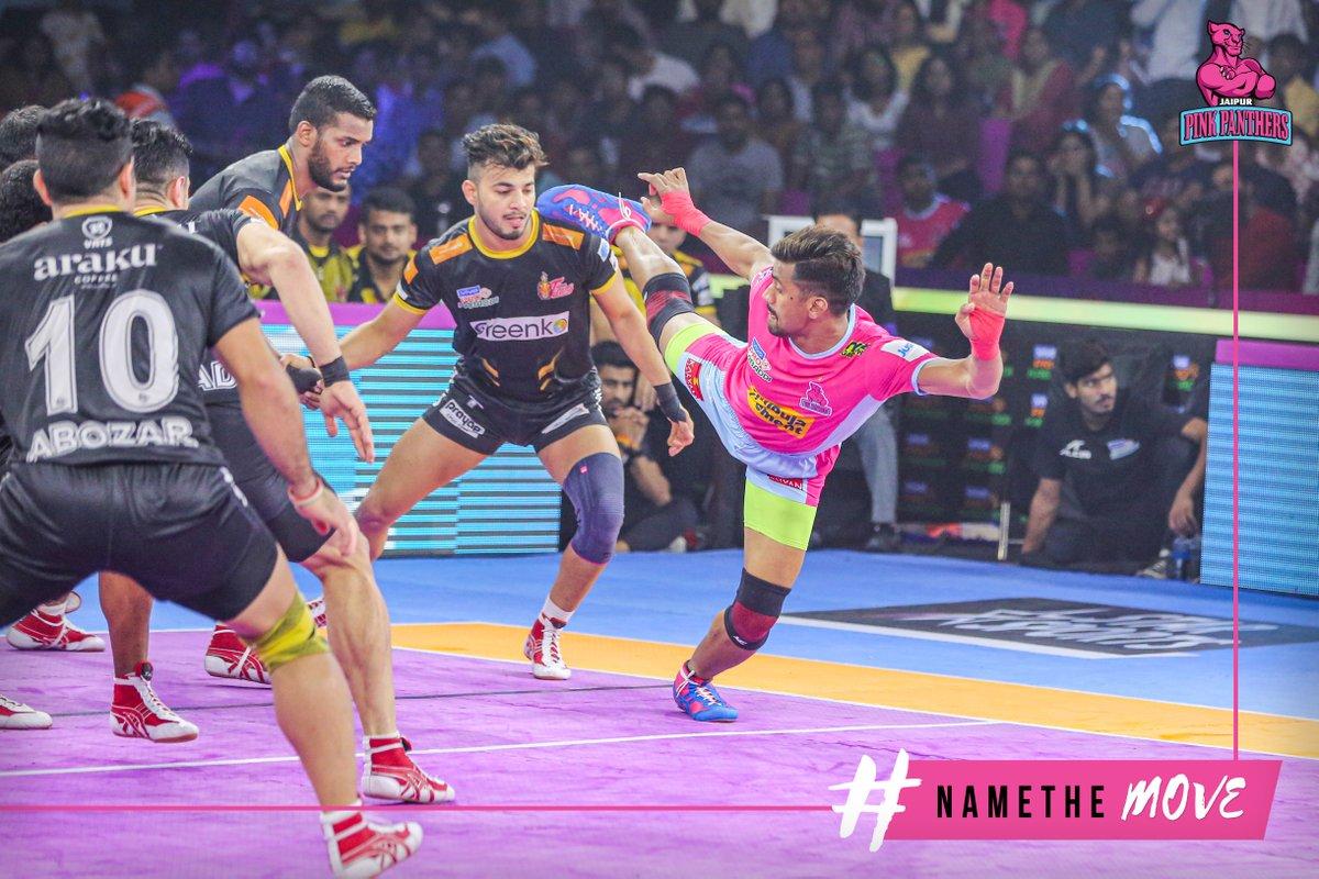 Name the move being played here by Nilesh Salunke!  #NameTheMove #PantherSquad #JaiHanuman #TopCats #JaipurPinkPanthers #JPP #Jaipur #vivoprokabaddi