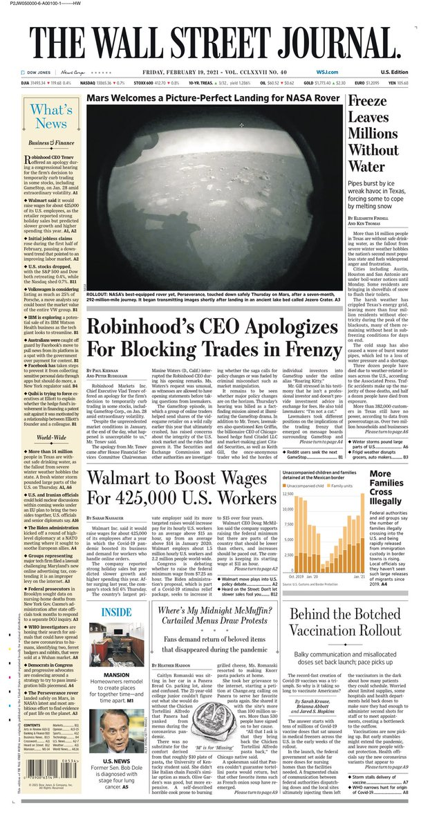 WSJ: Robinhood's CEO apologises for blocking trades in frenzy #TomorrowsPapersToday