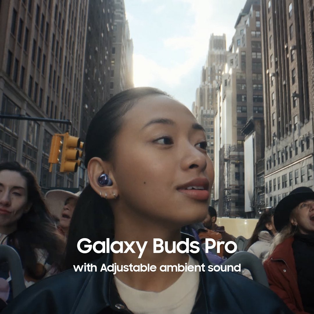 Let in as much of the world as you want. Introducing Galaxy Buds Pro, earbuds with 4 levels of adjustable ambient mode.  Learn more: