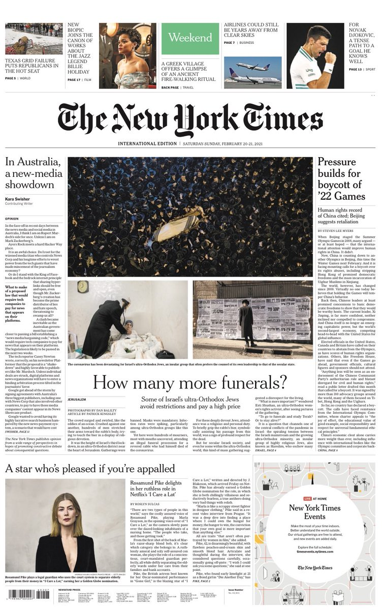 NEW YORK TIMES INTERNATIONAL: How many more funerals? #TomorrowsPapersToday