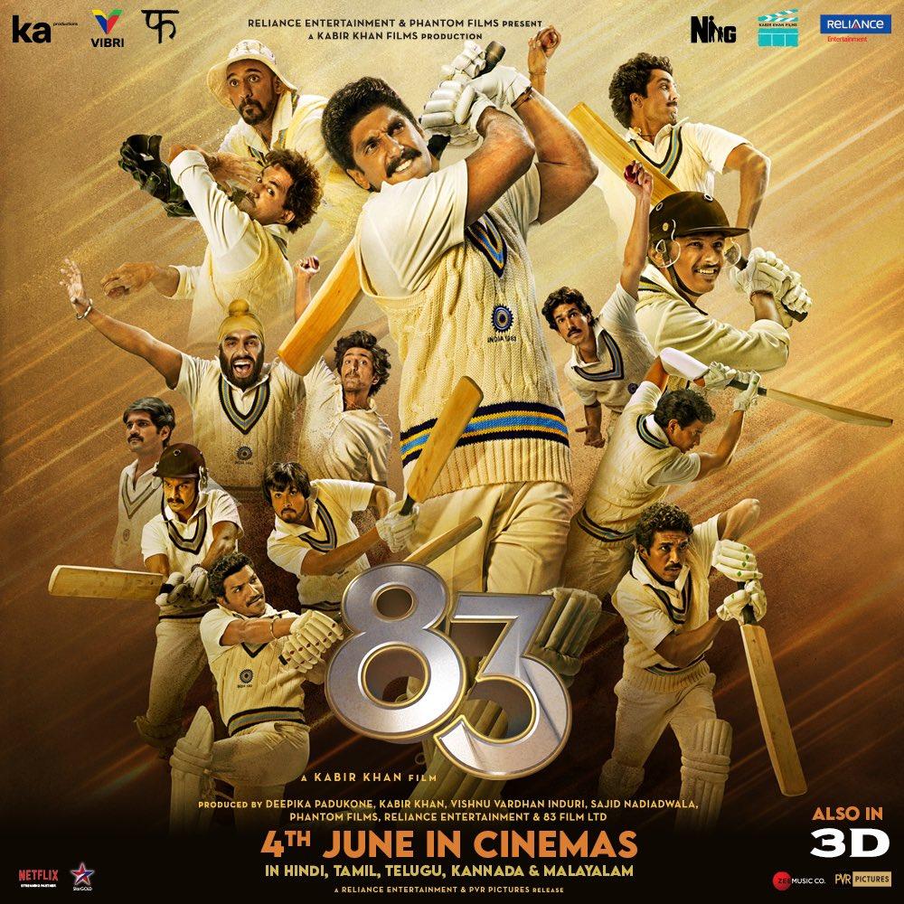 See you in Cinemas! 83 will hit the screens on June 4th, 2021, in Hindi, Tamil, Telugu, Kannada and Malayalam. #ThisIs83    @ikamalhaasan @iamnagarjuna @RanveerOfficial @kabirkhankk @deepikapadukone @Shibasishsarkar #SajidNadiadwala @vishinduri @ipritamofficial