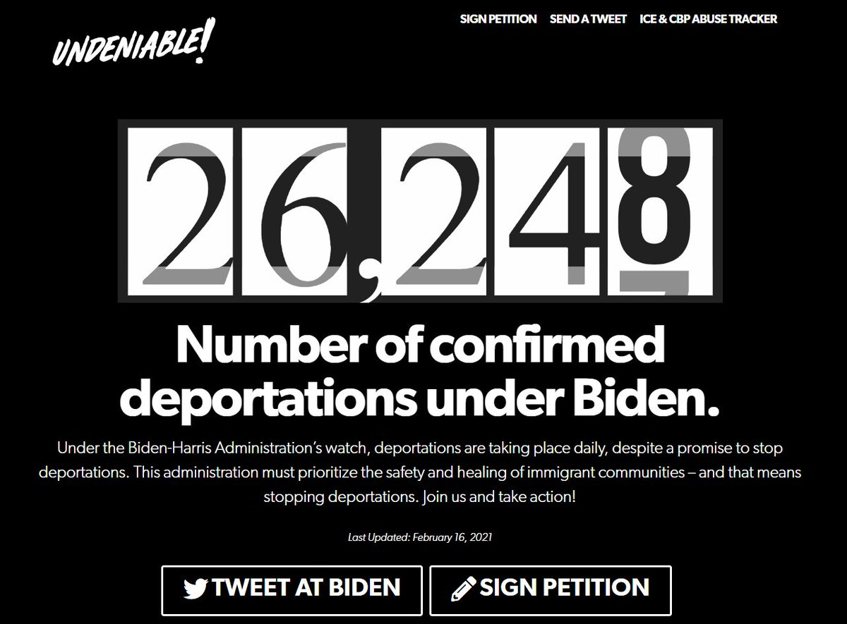 Under the Biden-Harris Administration's watch, deportations are taking place daily, despite a promise to stop deportations. @UNITEDWEDREAM has a tracker here: unitedwedream.org/protect-immigr…