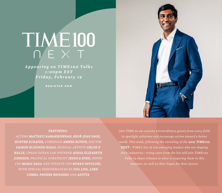 Lucky to participate later today! If you're free, tune in at 1 PM EST on . #TIME100Talks