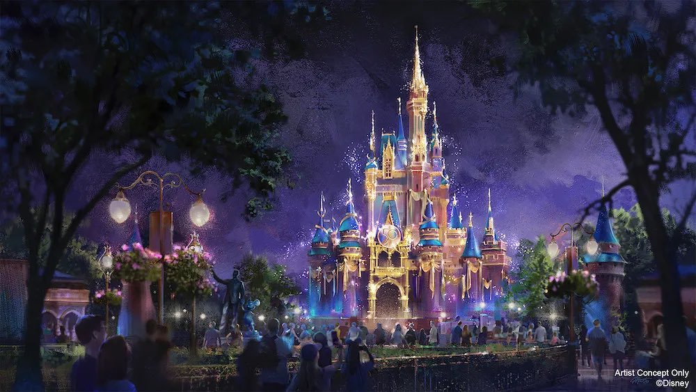 First look at the full concept art for the Park Icons overlays and projections as part of Walt Disney World's 50th Anniversary celebrations: