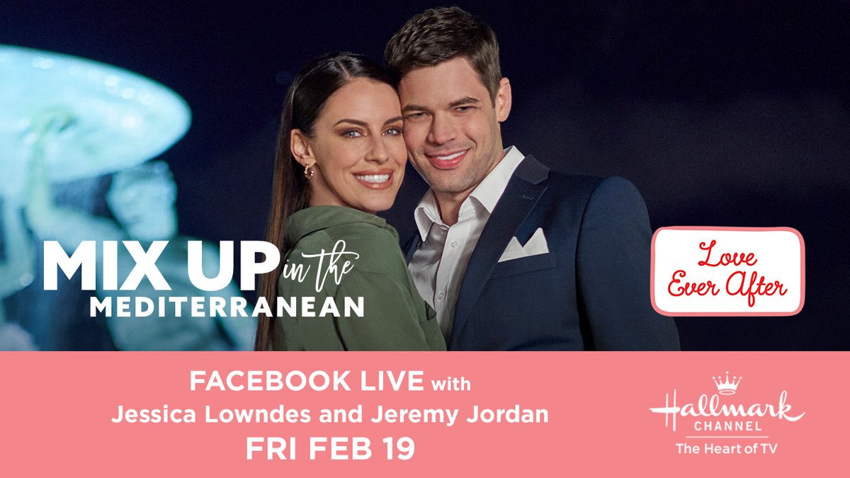 #Hallmarkies, theres only one way to get ready for the all new Mix Up in the Mediterranean: a chat with the cast, of course! Join @jeremymjordan & @jessicalowndes right here at 1PM EST to hear all about the laughs & love in their upcoming #LoveEverAfter movie! #MixUpInTheMed