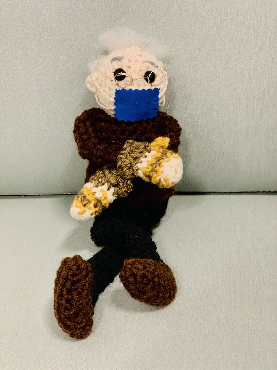 A long long time ago in the meme cycle someone suggested my wife auction off her crocheted Bernie for charity  In light of the need for relief funds in Texas we're doing just that   Please give if you can:   Not about the amount; anyone that RTs is eligible