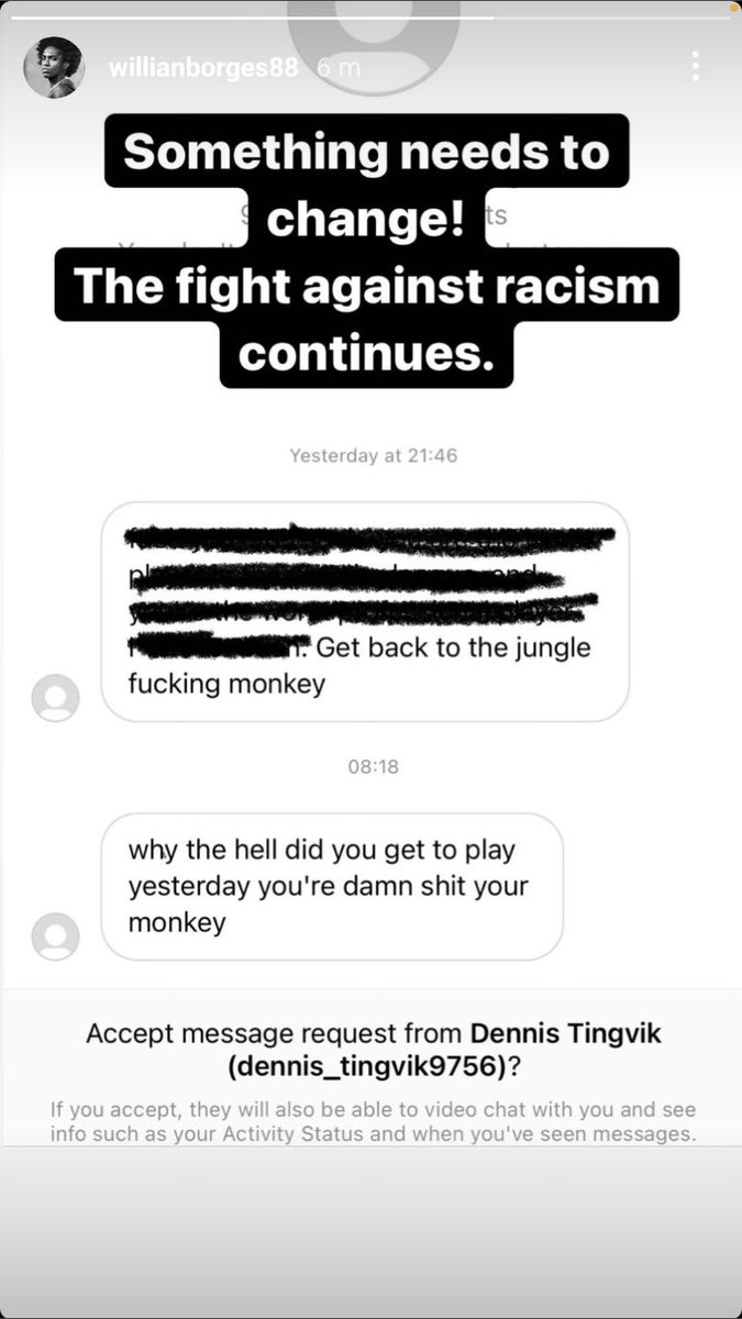 Another day, another racist. Showing love to our Brazilian @willianborges88 ❤️❤️✊🏿#COYG #whendoesitstop